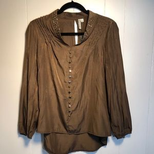 Womens Brown Blouse with silver buttons. NEW